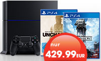 PS4 zusammen mit Star Wars Battlefront und Uncharted The Nathan Drake Collection